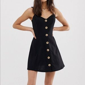 ASOS black mini dress with buttons
